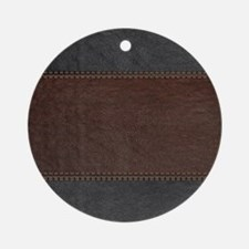Brow And Black Vintage Leather Look Round Ornament