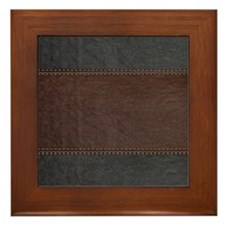Brow And Black Vintage Leather Look Framed Tile