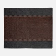 Brow And Black Vintage Leather Look Throw Blanket