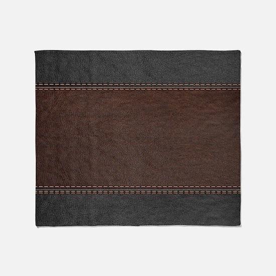Brow And Black Vintage Leather Look Throw Blanket