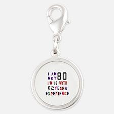 80 Birthday Designs Silver Round Charm