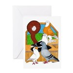 Five Pigeons Greeting Card