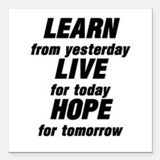 """LEARN from yesterday LIV Square Car Magnet 3"""" x 3"""""""