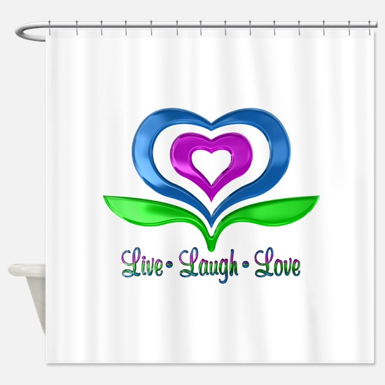 Live Laugh Love Hearts Shower Curtain