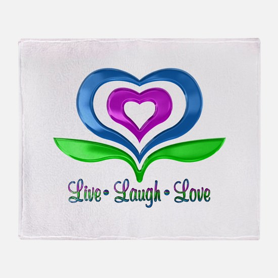 Live Laugh Love Hearts Throw Blanket