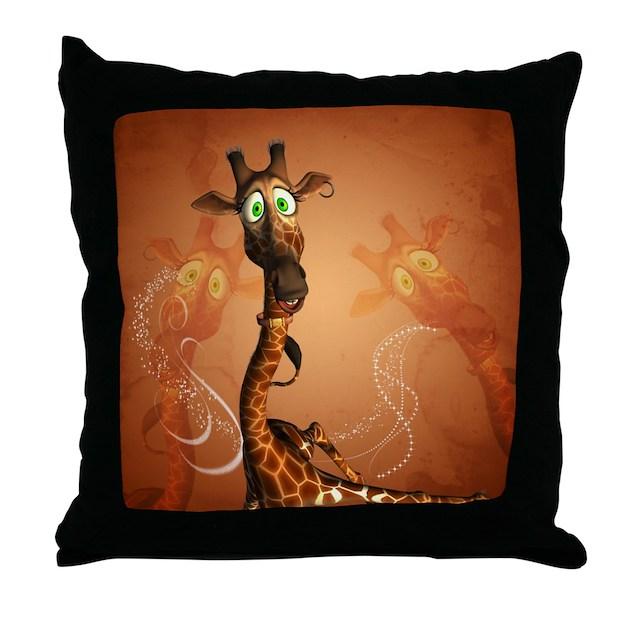 Decorative Pillows Funny : Funny giraffe Throw Pillow by Cartoonworld2