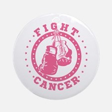 Pink Boxing Gloves Fight Cancer Round Ornament