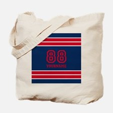 Red and Blue Bold Stripes Personalized Tote Bag