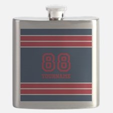 Navy Blue and Red Bold Stripes Personalized Flask