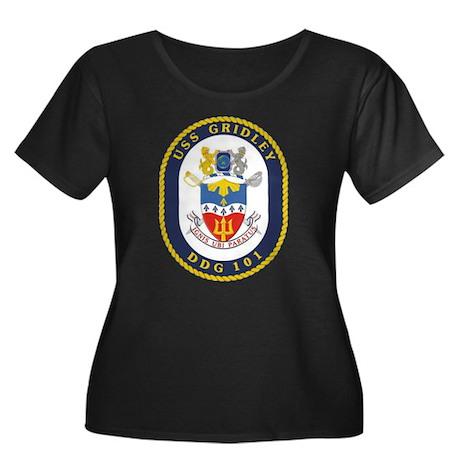 USS Gridley Women's Plus Size Scoop Neck Dark Tee