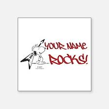 "Snoopy Rocks - Personalized Square Sticker 3"" x 3"""
