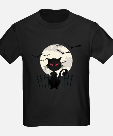 Halloween Cat Fool Moon And Flying Bats T-Shirt