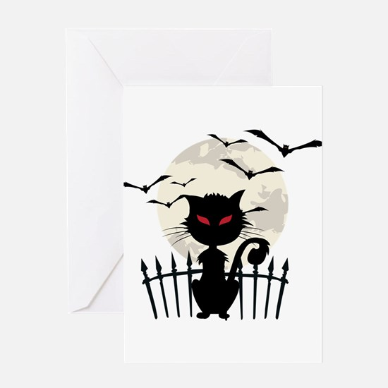 Halloween Cat Fool Moon And Flying Greeting Cards