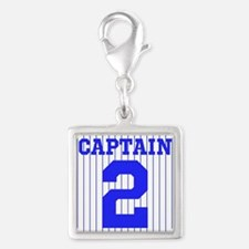 CAPTAIN #2 PINSTRIPES JETER Silver Square Charm