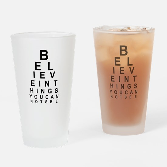 EYE CHART - BELIEVE IN THE THINGS Y Drinking Glass