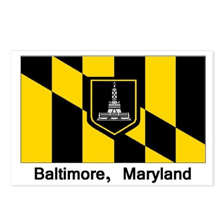 Baltimore MD Flag Postcards (Package of 8)