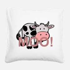 moo cow cartoon Square Canvas Pillow
