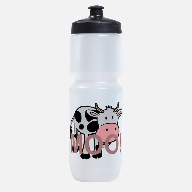 moo cow cartoon Sports Bottle