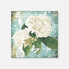 White hydrangea on blue Sticker