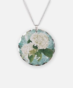 White hydrangea on blue Necklace