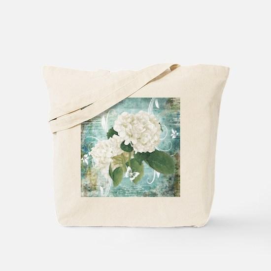 White hydrangea on blue Tote Bag