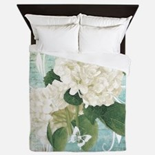 White hydrangea on blue Queen Duvet