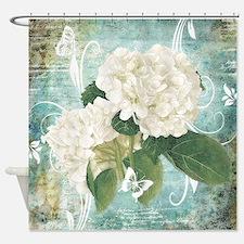 White hydrangea on blue Shower Curtain