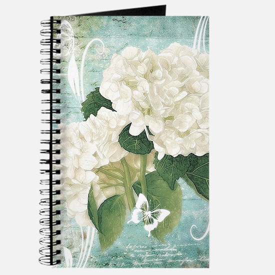 White hydrangea on blue Journal