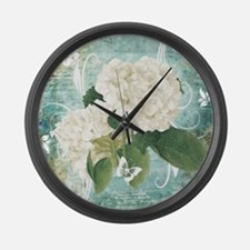 White hydrangea on blue Large Wall Clock