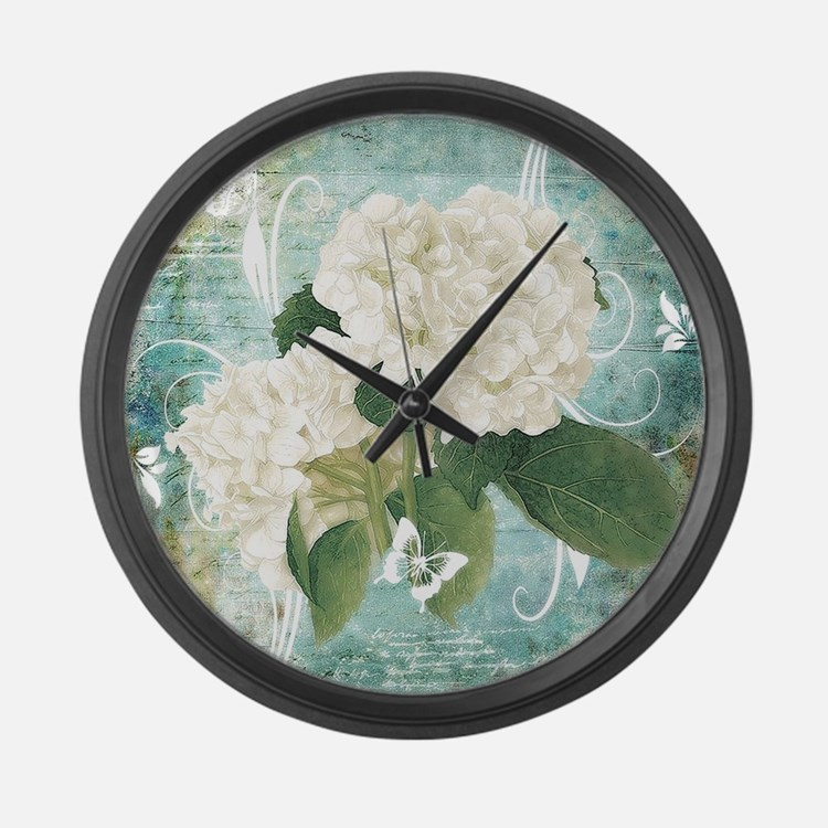 White hydrangea on blue Large Wall Clock