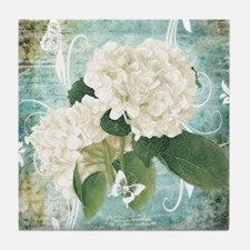 White hydrangea on blue Tile Coaster