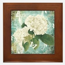 White hydrangea on blue Framed Tile