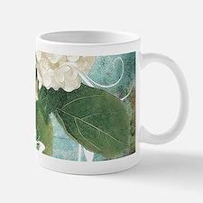 White hydrangea on blue Mugs
