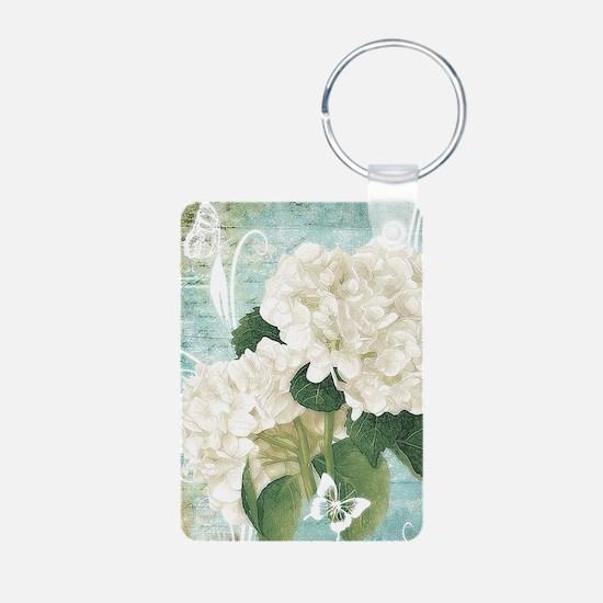 White hydrangea on blue Keychains