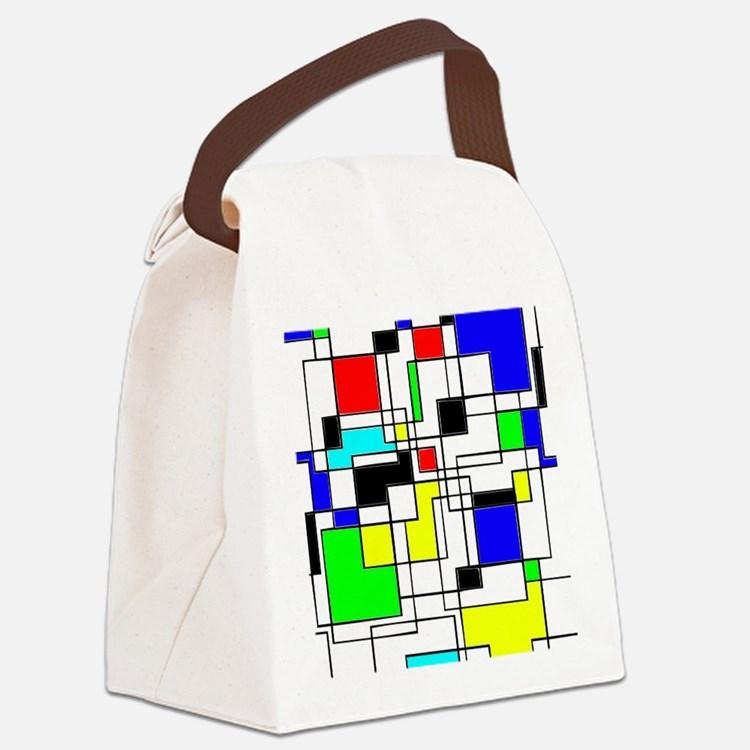 Random Squares Homage To Mondrian Canvas Lunch Bag