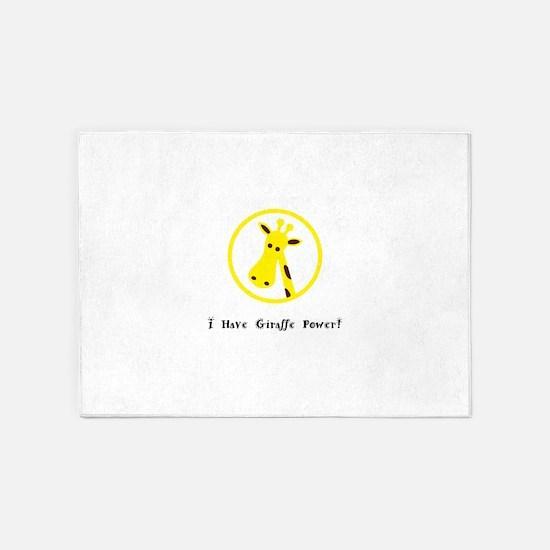 Yellow Giraffe Power Animal Gifts 5'x7'Area Rug