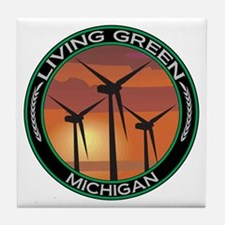 Living Green Michigan Wind Power Tile Coaster