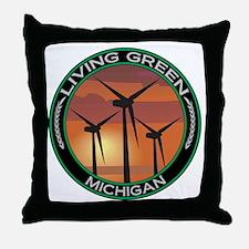Living Green Michigan Wind Power Throw Pillow