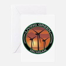 Living Green Michigan Wind Power Greeting Card