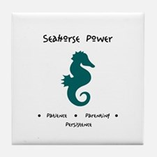 Teal Seahorse Sacred Totem Power Gifts Tile Coaste