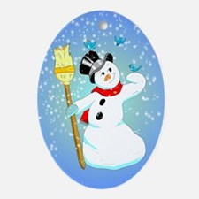 Snowman with bluebirds Oval Ornament