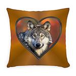 Wolf Heart Everyday Pillow