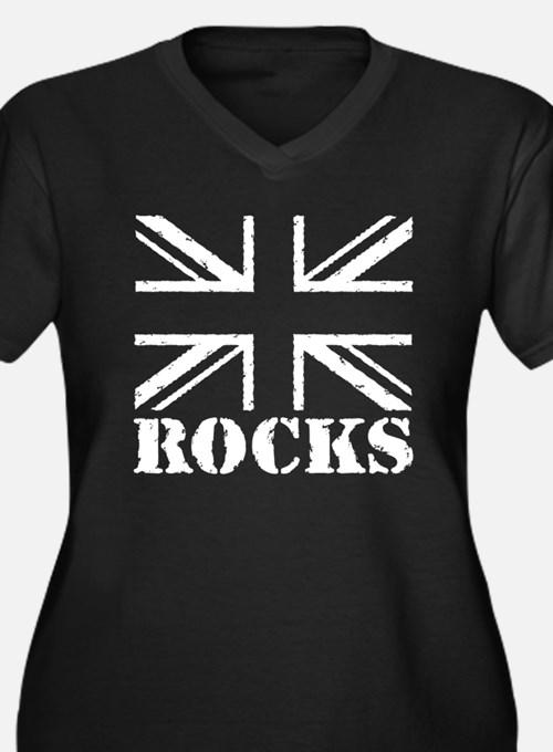 Britain Rocks Women's Plus Size V-Neck Dark T-Shir