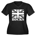 Britain Rocks Women's Plus Size V-Neck Dark T-Shir