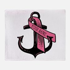 Personalized Pink Ribbon Anchor Throw Blanket