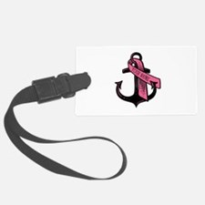 Personalized Pink Ribbon Anchor Luggage Tag