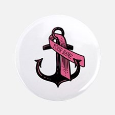 Personalized Pink Ribbon Anchor Button