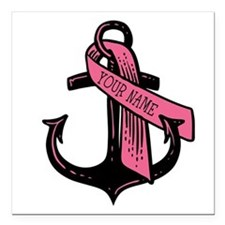 """Personalized Pink Ribbon Square Car Magnet 3"""" x 3"""""""