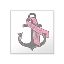 "Personalized Pink Ribbon An Square Sticker 3"" x 3"""