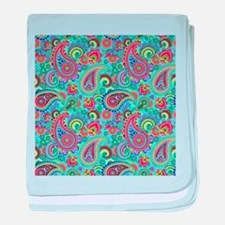 Retro Colorful Vintage Paisley Patter baby blanket
